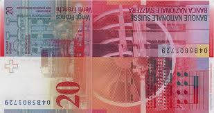 Chf Twenty Franc Fr 20 Bill Back